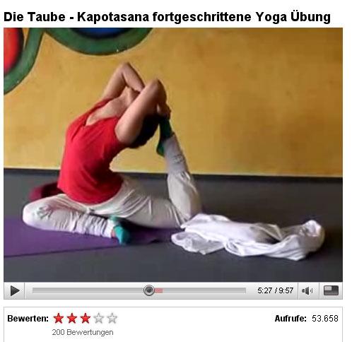 """Video """"Taube – eine fortgeschrittene Yoga Übung"""" über 50.000 Mal ..."""