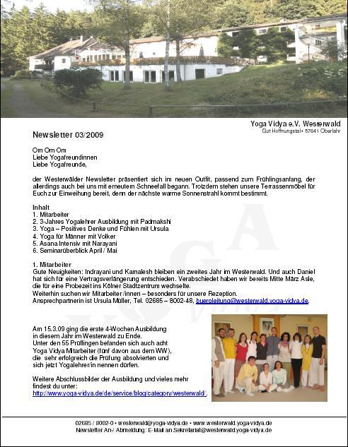 Newsletter Haus Yoga Vidya Westerwald