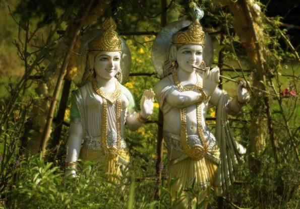 Radha und Krishna (mit Flöte)