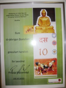 Urkunde Landrat 10-jähriges Bestehen