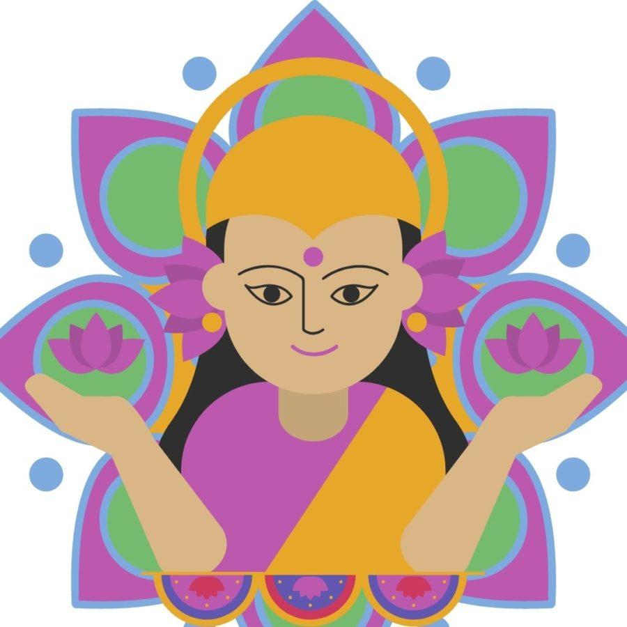 Lakshmi mit zwei geöffneten Lotus Blumen in der Hand