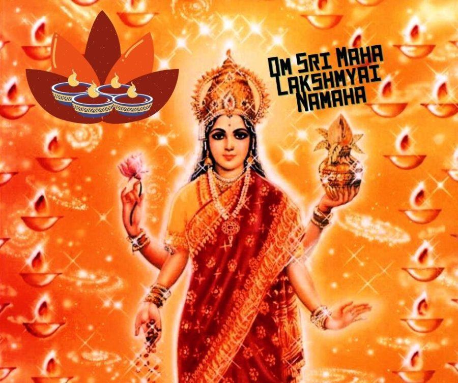 Om Sri Maha Lakshmayai namaha ist ein Mantra, dass an Navaratri zur verehrung Lakshmis rezitiert werden kann.