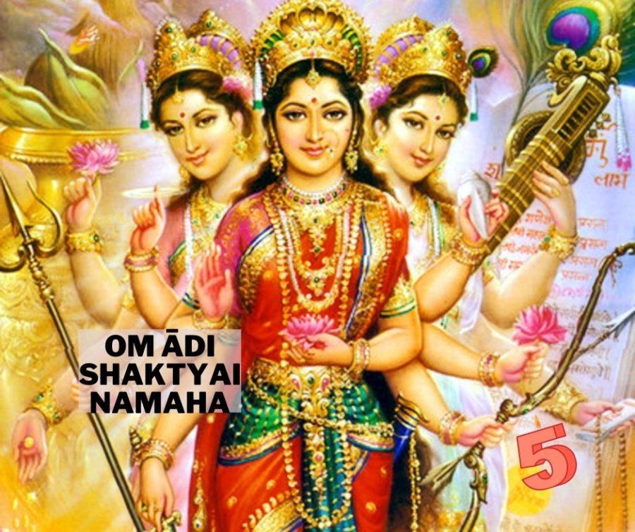 Om Adi Shaktyai Namaha kann zur verehrung der Göttlichen Mutter an Navaratri rezitiert werden