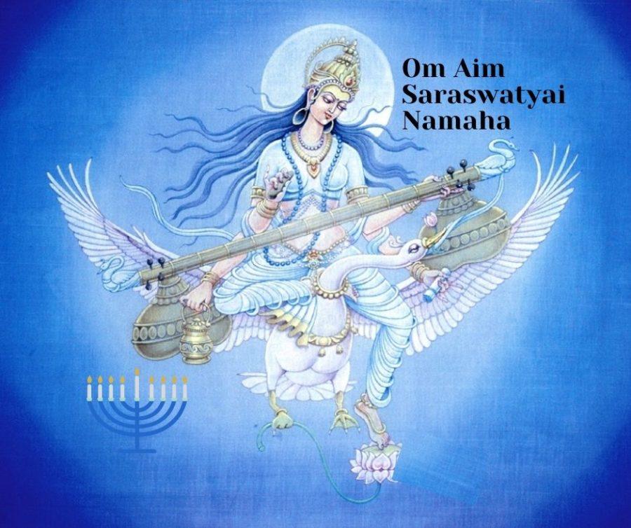 Om Aim Saraswatyai Namaha ist ein Mantra, dass an Navaratri die Göttin Saraswati ehren kann.