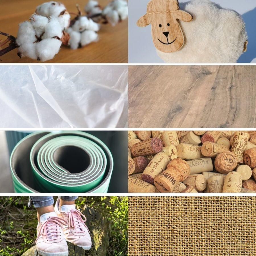Yogamatten gibt es in verschiedenen Materialien. Hier von links nach rechts die 8 bekanntesten